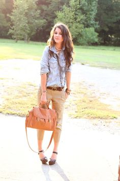 Chambray blouse, brown belt, tan chinos, brown pumps, tanned purse. #outfit #style