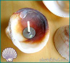 Basteln mit Muscheln DIY Kerzenmuschel Kerzendocht
