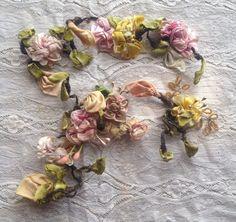 3 Pcs Vintage Antique Floral Ribbonwork Flowers w/ Pips RibbonArt Passementerie