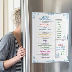 Planning your meals ahead of time is worth it when you consider you don't have to think twice about what to make for your meals the rest of the week when things get busy. Weekly Menu Boards, Weekly Menu Planners, Meal Planner, 2018 Planner, Personal Planners, Planning Budget, Menu Planning, Garlic Pizza, Refrigerator Organization