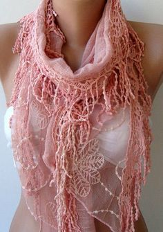 Pink Cotton And Lace Shawl/ Scarf Headband Cowl With By Womann  #