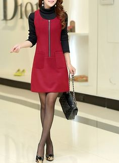 Polyester Solid Sleeveless Above Knee Casual Dresses