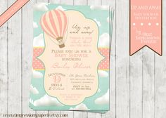 Up and Away - Hot Air Balloon Baby Shower Invitation - Baby Girl - Pink Blue Yellow by ImpressionsPaperie on Etsy https://www.etsy.com/listing/208863183/up-and-away-hot-air-balloon-baby-shower