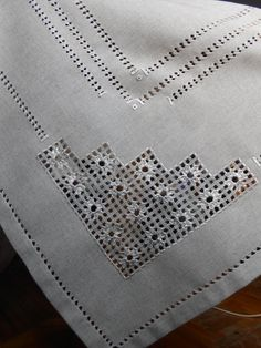 Set of linen embroidered tablecloth & 6 napkins, Hardanger table cloth, OOAK handmade table cover, cottage chic tablecloth, dining table Embroidery Leaf, Hardanger Embroidery, Learn Embroidery, Embroidery For Beginners, Embroidery Patterns, Paper Embroidery, Doily Patterns, Dress Patterns, Stitch Book