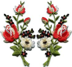 Black & red roses pair flowers embroidered appliques iron-on patches new S-1224 in Crafts, Sewing & Fabric, Sewing | eBay