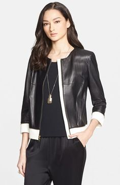 St. John Collection Two-Tone Nappa Leather Jacket