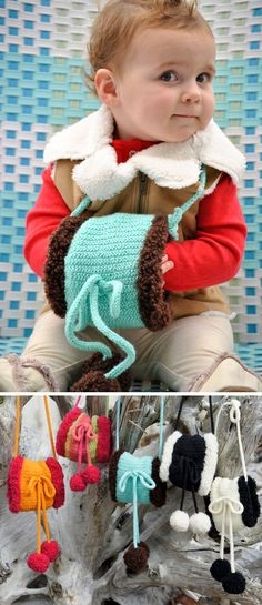 Free Knitting Pattern for Child's Handwarmer Muff - This easy handwarmer features pompoms, i-cord bow, and neck strap. The muff is knit in tube with half folded inside during finishing. The stitch is an easy 2 round repeat double seed stitch. Designed byChuck Wilmesher for skacel.