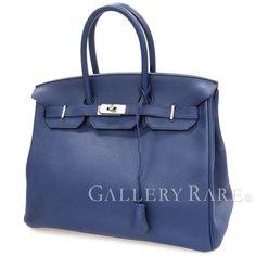 エルメス バーキン35 cm ハンドバッグ ブルーニュイ×シルバー金具 トゴ T刻印 HERMES Birkin バッグ