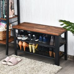 Shoe Rack Industrial Shoe Bench with Storage Shelves - Shoe Racks & Organizers - Clothing & Closet Storage - Storage & Organization - Household Supplies - Home & Garden Small Shoe Rack, Best Shoe Rack, 3 Tier Shoe Rack, Diy Shoe Rack, Shoe Racks, Black Shoe Rack, Shoe Rack Pallet, Homemade Shoe Rack, Rustic Shoe Rack
