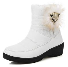 Sfnld Womens Comfy Quilted Round Toe Fox Ankle High Pull On Warm Snow Boots White 8 BM US -- You can find out more details at the link of the image.