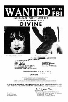 Divine WANTED by the FBI Interstate Flight - Murder - Forgery - Conspiracy