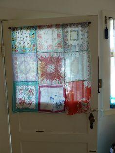 Vintage handkerchief curtain...