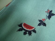 Vintage 1950's 60's Aqua Watermelon and Leaves by TheLastPixie, $8.50