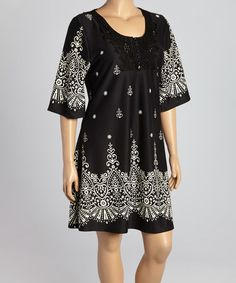 Another great find on #zulily! Black & White Geometric Scoop Neck Dress - Plus by Reborn Collection #zulilyfinds