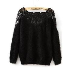 Lace Insert Boat Neckline Mohair Sweater Women - Apparel - Sweaters - Pull Over