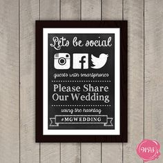 Let's Be Social - Instagram, Facebook & Twitter Chalkboard Wedding Sign by WeddingPlanningShop, $10.00