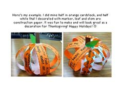 "This ""Thankful Pumpkin Craft"" is a fun activity for fall. Talk with your class about what you are thankful for and have them share things they are thankful for. These make great centerpieces for Thanksgiving!"