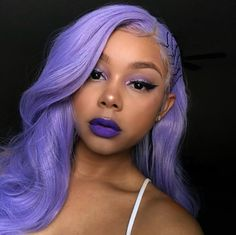 40 Stunning Purple Hair Color Ideas in 2019 If youre looking for a rocking new hair shade you should think about these bold dark purple hair color ideas. Theyre fabulous flattering and . Dark Purple Hair Color, Bold Hair Color, Purple Hair Black Girl, Black Girls, Purple Wig, Hair Colours, Green Hair, Black Women, Pastel Hair