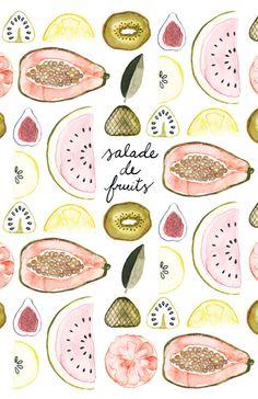 Salade de fruits #zine #collage #illustration #watercolor #fruits Eliane Berdat et Gabrielle Dupont http://spirographeusesdudimanche.com/zines/salade-de-fruits/