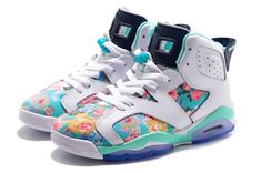 Womens Air Jordan 6 GS Floral Custom White Turquoise For Sale In Girls Size-1
