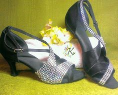 Another view of the Salsa Shoes customised using Iridescent HotFix Crystals.