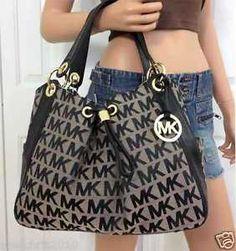 Michael Kors MK Signature Large Black Tote Handbag Shoulder Bag Purse