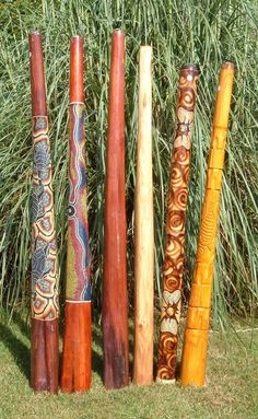 """""""Wonderfully carved and decorated bamboo didgeridoos ~ Australia"""" We need to find an interesting way to display the vintage didgeridoo Pete got for Christmas. -CAB"""