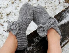 Hand knit wool slippers Hand knit wool slipper socks by luludress