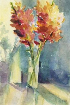 Snapdragon Flowers in Morning Light - Fine Art Print of an Impressionist Floral Watercolor Painting by Beverly Brown