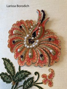 New fantasy flower. Silk embroidery, goldwork, purl, gold thread. pearls, amethysts, beads, etc. Made by Larissa Borodich Zardozi Embroidery, Bead Embroidery Patterns, Types Of Embroidery, Crewel Embroidery, Hand Embroidery Designs, Ribbon Embroidery, Silk Bangles, Bead Sewing, Brazilian Embroidery