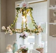 use old wire lampshade frame, dress for christmas or rustic with greenery