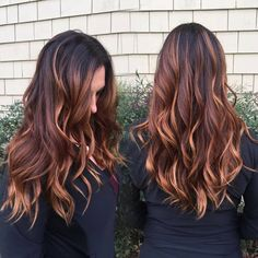 Balayage Blonde Ends - 20 Fabulous Brown Hair with Blonde Highlights Looks to Love - The Trending Hairstyle Brown Ombre Hair, Ombre Hair Color, Brown Hair Colors, Hair Color For Dark Skin Tone, Hair Colour, Brunette Color, Brunette Hair, Copper Balayage Brunette, Auburn Hair Balayage