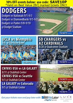"http://bit.ly/1tVf3Zk Click the link/image for a 10% discount on displayed games. Use this discount code ""SAVE10P"".  #LosAngeles #Dodgers #Arizona #Diamondbacks #SanDiego #Padres #Washington #Nationals #DodgerStadium #Baseball #MLB #Chargers #Arizona #Cardinals #UCLA #Bruins #Memphis #Tigers #LAGalaxy #ChivasUSA #Seattle #Sounders #Colorado #Rapids #Soccer #MLS #Football #NFL #QualcommStadium #BarrysTickets"