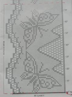 Crochet Diagram, Filet Crochet, Crochet Curtains, Crochet Projects, Cross Stitch, Artwork, Crochet Ripple, Crocheted Baby Afghans, Crochet Edgings
