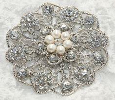 "3.38"" Natural Freshwater Pearl Round Large Crystal Wedding Bridal Dress Cake Sparkling Brooch Pin/ Hair Comb BRH00281"