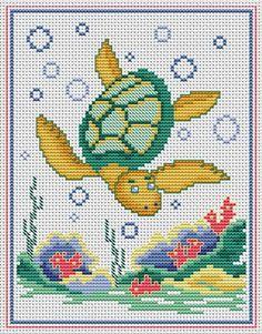 Sea turtle Cross Stitch For Kids, Cross Stitch Animals, Cross Stitch Charts, Cross Stitch Patterns, Bead Patterns, Embroidery Art, Cross Stitch Embroidery, Turtle Crafts, Canvas Designs