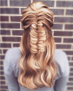 Hairstyle: Half Up updo French fishtail braid. Hair by: #tinatobar You could also find me on Instagram @ Tina.tobar