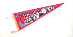 Michigan Sesquicentennial Pennant, Vintage Red Souvenir Felt Flag from 1987 by planetalissa on Etsy