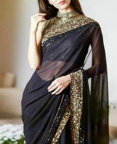 Black Saree Designs, Saree Blouse Designs, Trendy Sarees, Stylish Sarees, Sarees For Girls, Bollywood Outfits, Bollywood Saree, Saree Trends, Saree Look