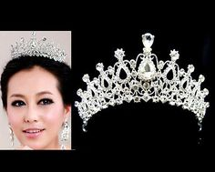 WBH141 Huge Aust. Crystal Tiara Crown Hair Jewelry Bridal Wedding Pageant Prom - EXCLUSIVE DEAL! BUY NOW ONLY $7.15