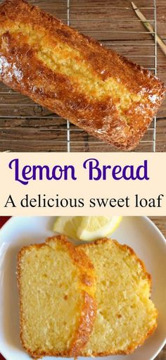 A tangy delicious sweet Easy Lemon Bread Recipe. A moist sweet homemade loaf wit… A tangy delicious sweet Easy Lemon Bread Recipe. A moist sweet homemade loaf with a simple glaze, perfect for every occasion. Loaf Recipes, Easy Bread Recipes, Cooking Recipes, Lemon Recipes Easy, Breakfast Bread Recipes, Pudding Recipes, Easy Lemon Desserts, Simple Bread Recipe, Cooking Tips