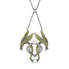 Art Nouveau Silver Gilt, Silver, Enamel, Simulated Diamond and Pearl Lavaliere