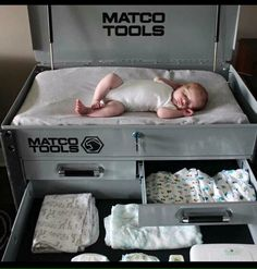 Matco Tools toolbox as a changing station for an auto-themed baby room.