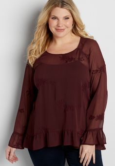 plus size peasant top with embroidery and ruffles (original price, $39.00) available at #Maurices