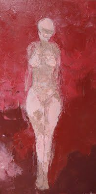 Made Up.    2005.   Lipstick on canvas.  Melanie Henneberg         ………………………………………………………............................................... Keywords: Female figure cosmetics painting nude art beauty