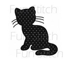 modèle de conception de broderie chat contour par FunStitch sur Etsy