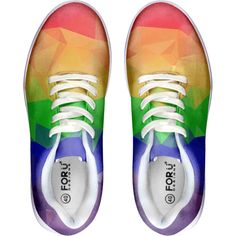 BigTexFunkadelic Rainbow Gay Pride Skate Shoes ❤ liked on Polyvore featuring shoes, rainbow shoes, skate shoes and rainbow footwear