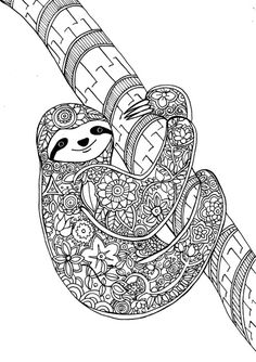 """Flower Sloth, a page from my new art therapy coloring book""""Animal Dreamers""""Please check it out here :)https://www.kickstarter.com/projects/1382679986/animal-dreamers-art-therapy-coloring-book-for-all"""