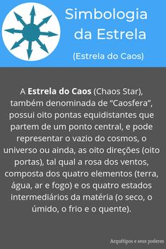 Estrela do Caos Magic Symbols, Magic Spells, Gods And Goddesses, Self Development, Alchemy, Witchcraft, Reiki, Tarot, Knowledge