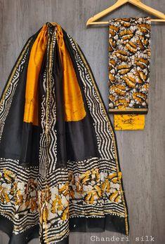 Price Rs 1600 + Shipping extra Hand block Printed chanderi silk dress materials Top and dupattas chanderi silk (2.50×2 mtrs) Bottom cotton (2.50 meters) Chanderi Suits, Chanderi Silk Saree, Patiala Suit, Churidar Suits, Chiffon Saree, Silk Sarees, Anarkali Suits, Salwar Kameez, Elegant Fashion Wear
